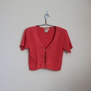 Sweaters - Vintage coral cropped knit cardigan